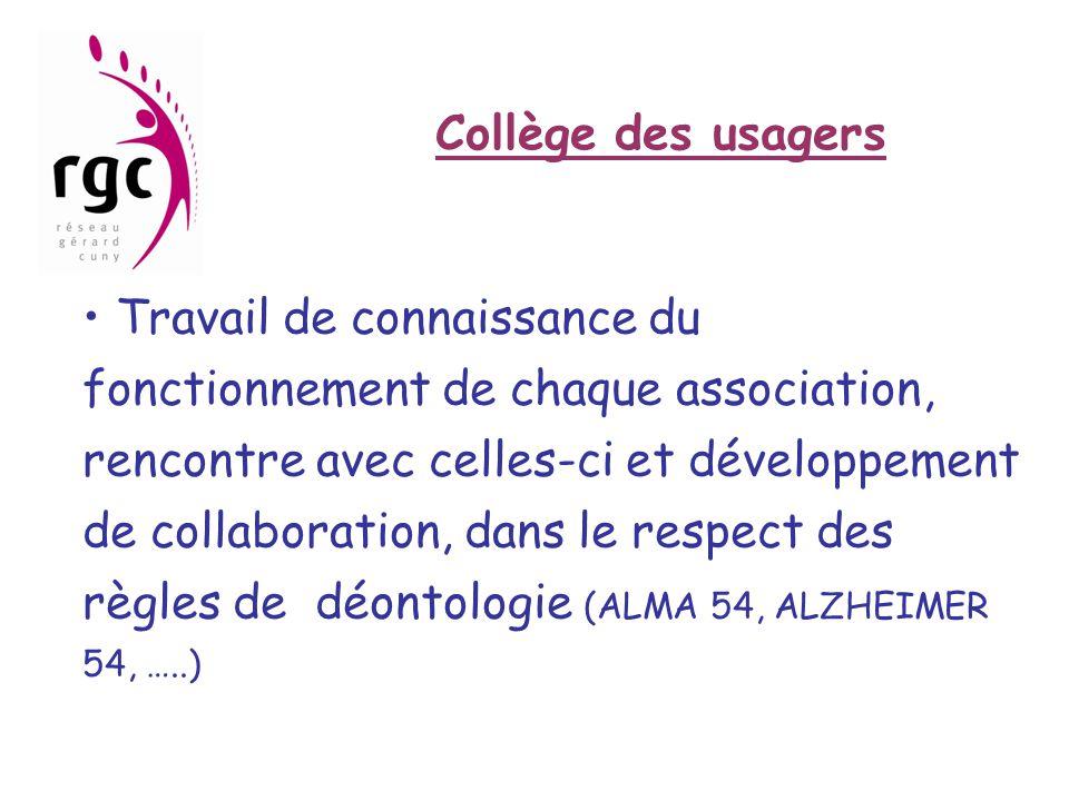 Collège des usagers • Travail de connaissance du fonctionnement de chaque association, rencontre avec celles-ci et développement de collaboration, dan