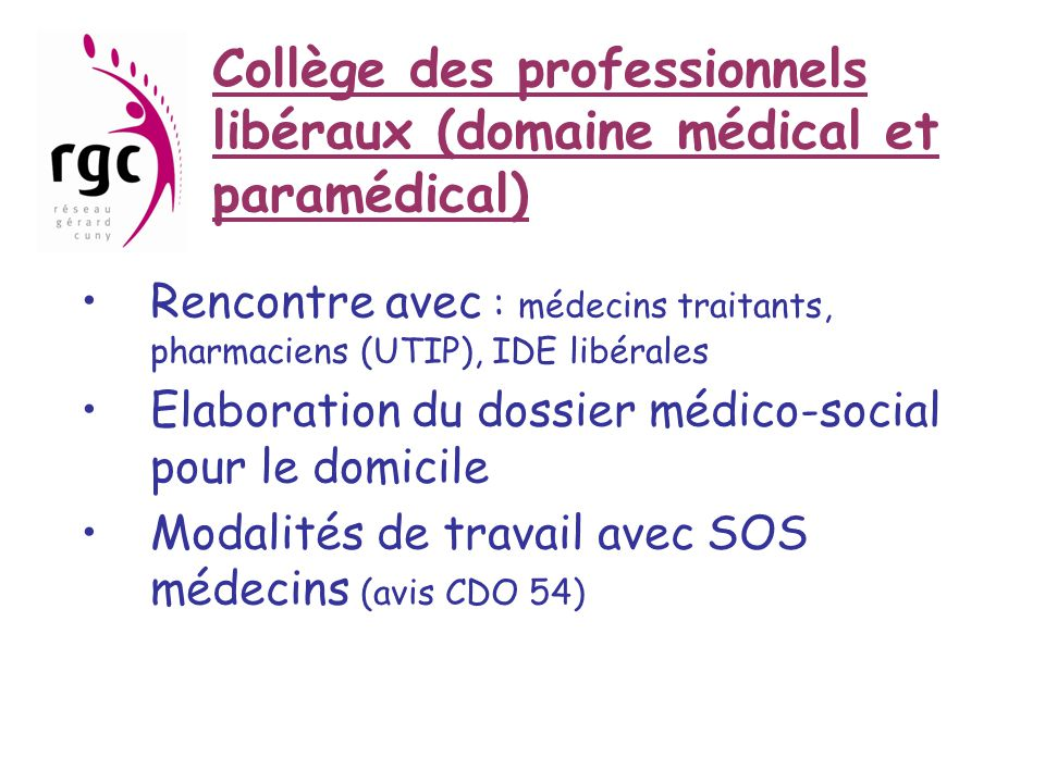 Collège des professionnels libéraux (domaine médical et paramédical) •Rencontre avec : médecins traitants, pharmaciens (UTIP), IDE libérales •Elaborat