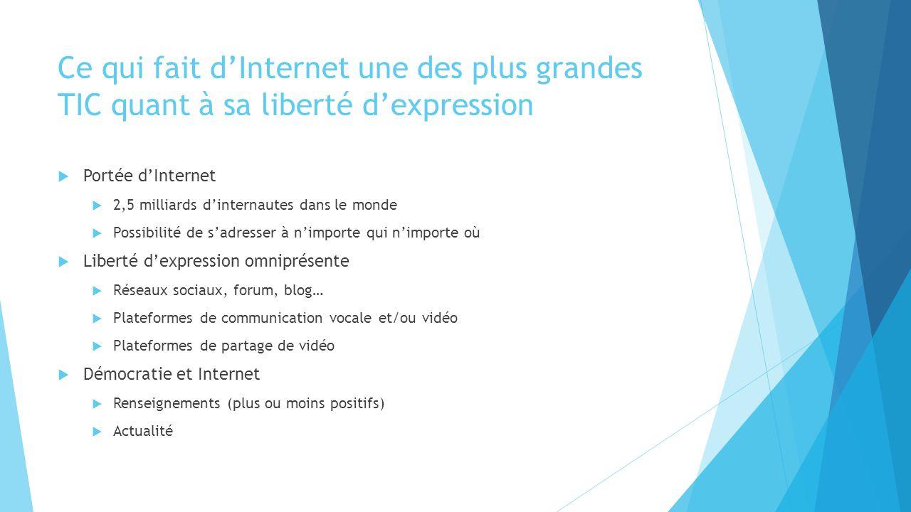 Limite de la liberté d'expression sur internet  Réglementation des pays  Variation en fonction du pays  Risques dans une trop grande liberté  Dégénération de discours haineux  Internet, reflet de tensions déjà existantes