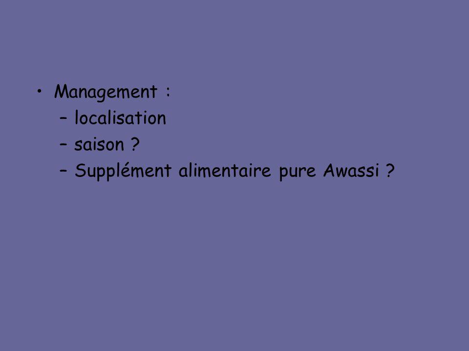 •Management : –localisation –saison ? –Supplément alimentaire pure Awassi ?