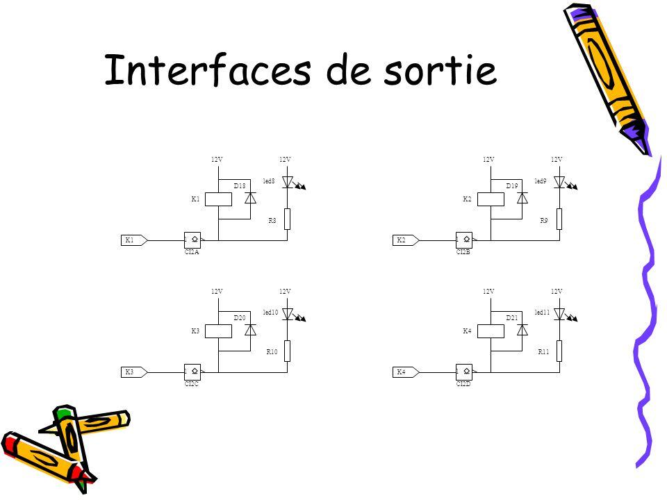 Interfaces d'entrée 5V 1 CI3C 5V 0V R31 R3 5V led1 X R30 C5 JP2 codeur 0V 5V 1 CI3D 5V 0V R31 R4 5V led2 Y R30 C6 5V 1 CI3A 5V 0V R31 R1 5V led3 M0 R30 C3 JP1 commutateur modes 0V 5V 1 CI3B 5V 0V R31 R2 5V led4 M1 R30 C4 JP3 radar JP4 barriere 5V 1 CI3F 5V 0V R31 313 R6 5V led6 barrière R30 C8 0V 12V 5V 1 CI3E 5V 0V R7 R5 5V led5 radar R7 C7 0V 12V •Anti-rebond sur les entrées.