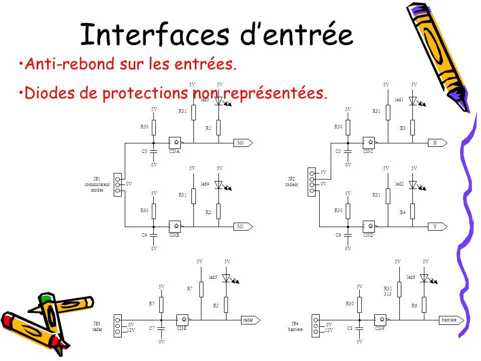 Interfaces d'entrée 5V 1 CI3C 5V 0V R31 R3 5V led1 X R30 C5 JP2 codeur 0V 5V 1 CI3D 5V 0V R31 R4 5V led2 Y R30 C6 5V 1 CI3A 5V 0V R31 R1 5V led3 M0 R3