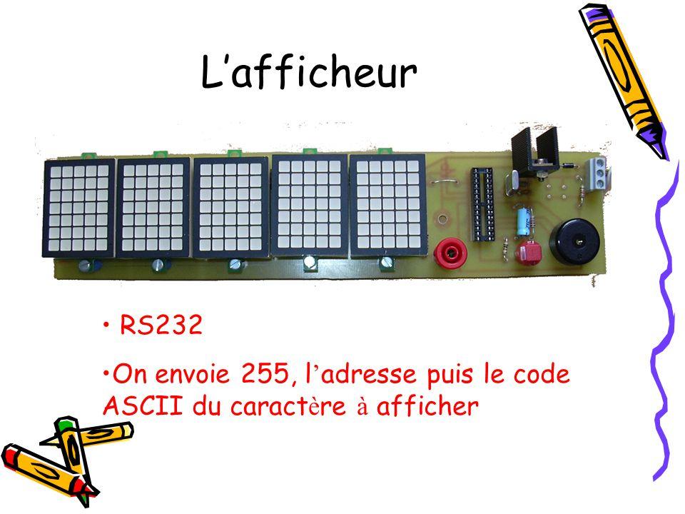 L'afficheur • RS232 •On envoie 255, l ' adresse puis le code ASCII du caract è re à afficher