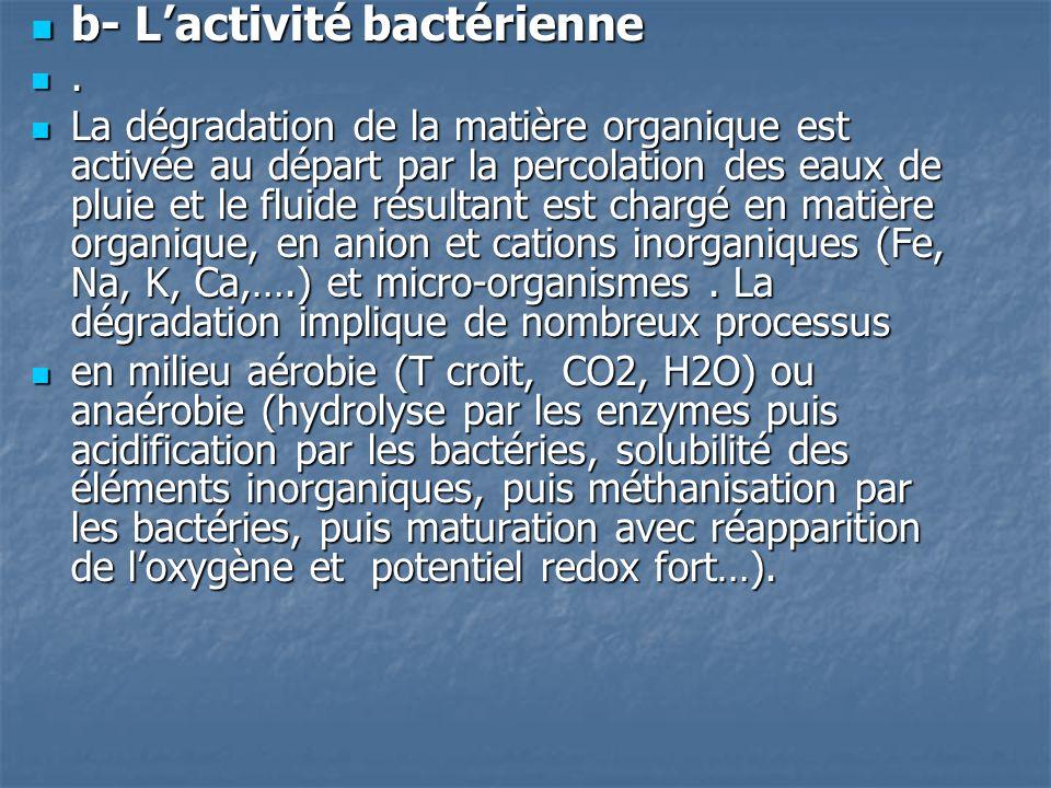  b- L'activité bactérienne .  La dégradation de la matière organique est activée au départ par la percolation des eaux de pluie et le fluide résult