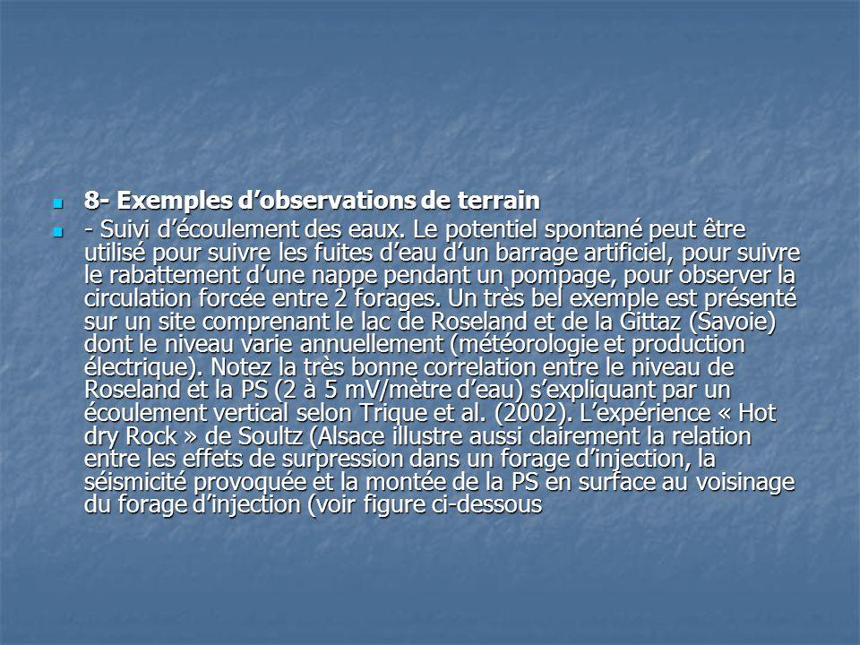  8- Exemples d'observations de terrain  - Suivi d'écoulement des eaux. Le potentiel spontané peut être utilisé pour suivre les fuites d'eau d'un bar