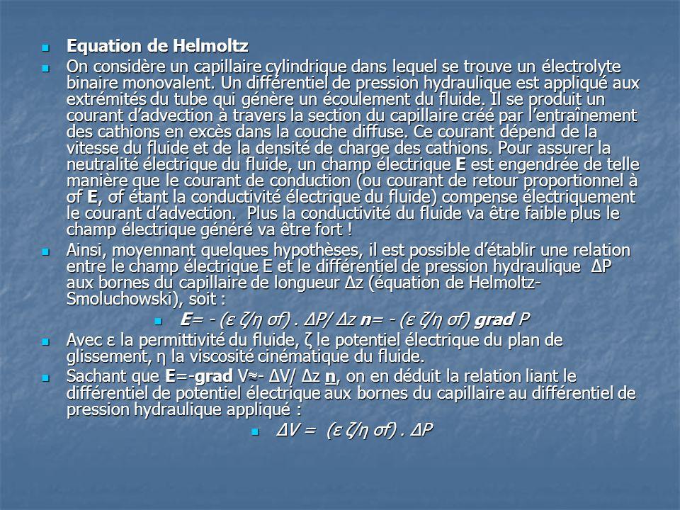  Equation de Helmoltz  On considère un capillaire cylindrique dans lequel se trouve un électrolyte binaire monovalent. Un différentiel de pression h