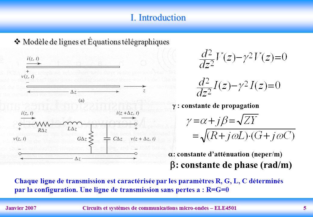 Janvier 2007 Circuits et systèmes de communications micro-ondes – ELE4501 5  Modèle de lignes et Équations télégraphiques I.