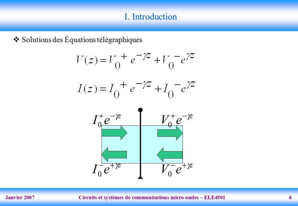Janvier 2007 Circuits et systèmes de communications micro-ondes – ELE4501 6  Solutions des Équations télégraphiques I.