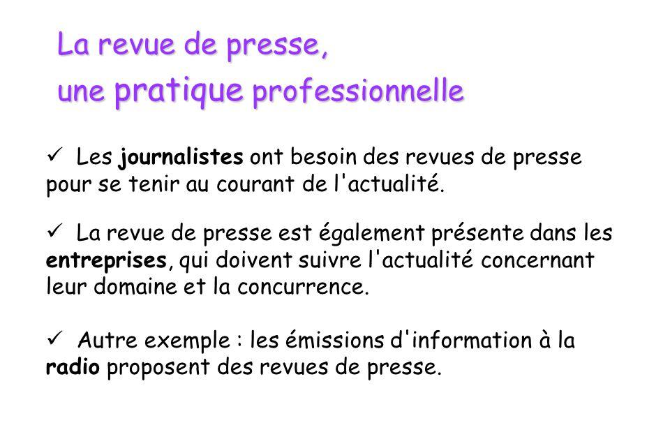 La revue de presse sur le plan juridique  La revue de presse est une exception au droit d auteur.
