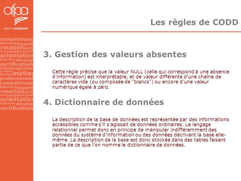 Les règles de CODD 3. Gestion des valeurs absentes Cette règle précise que la valeur NULL (celle qui correspond à une absence d'information) est inter