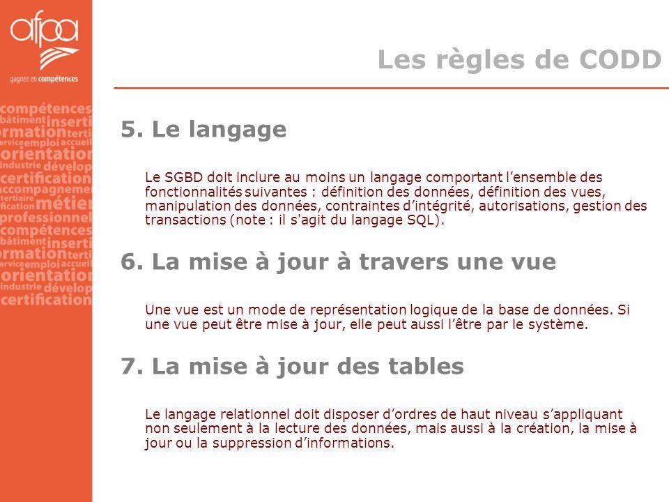 5. Le langage Le SGBD doit inclure au moins un langage comportant l'ensemble des fonctionnalités suivantes : définition des données, définition des vu
