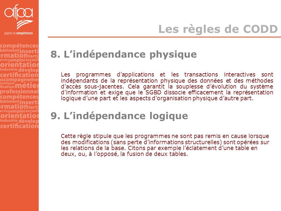 8. L'indépendance physique Les programmes d'applications et les transactions interactives sont indépendants de la représentation physique des données