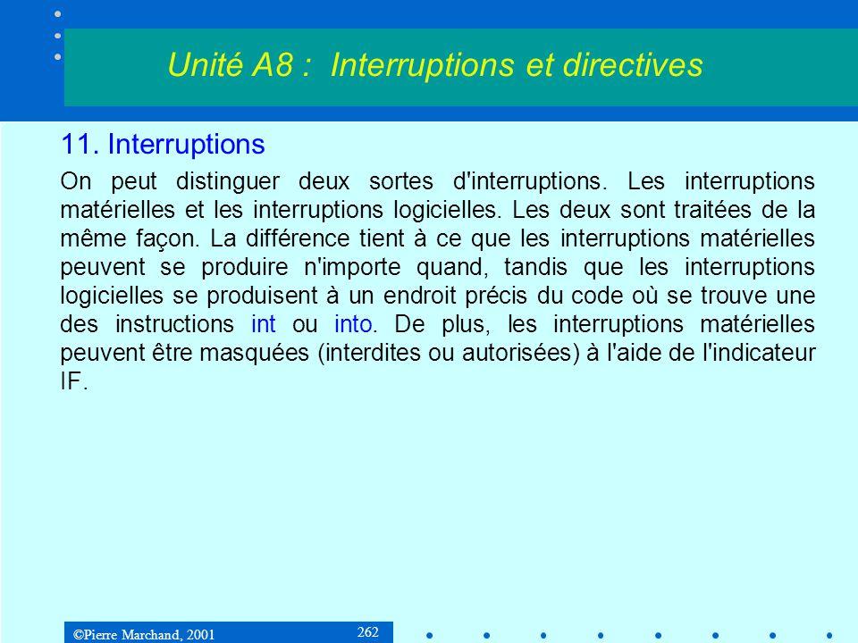 ©Pierre Marchand, 2001 262 11. Interruptions On peut distinguer deux sortes d'interruptions. Les interruptions matérielles et les interruptions logici