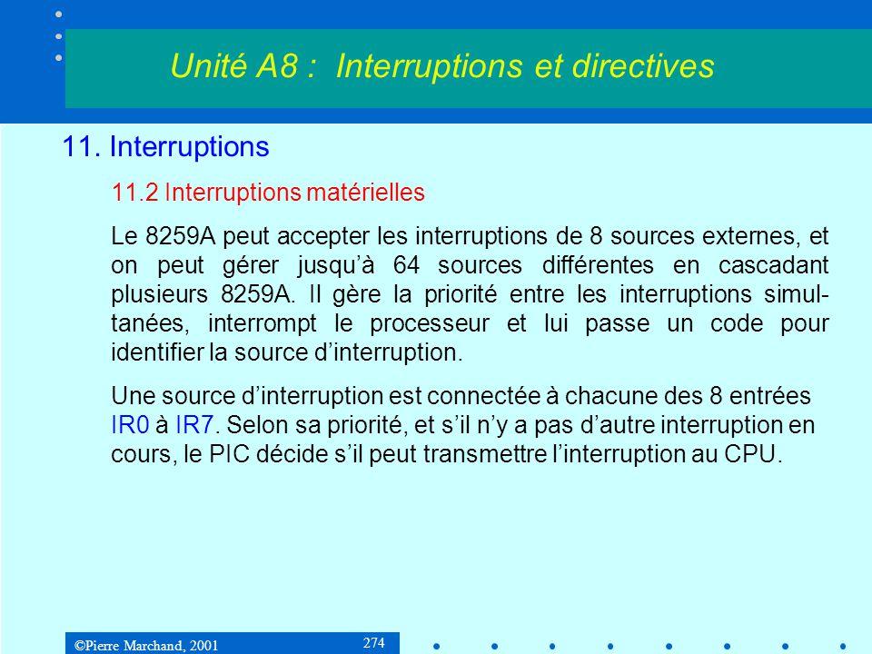 ©Pierre Marchand, 2001 274 11. Interruptions 11.2 Interruptions matérielles Le 8259A peut accepter les interruptions de 8 sources externes, et on peut