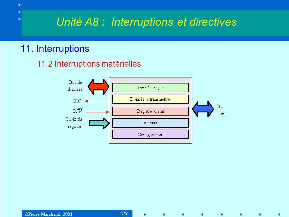 ©Pierre Marchand, 2001 279 11. Interruptions 11.2 Interruptions matérielles Unité A8 : Interruptions et directives