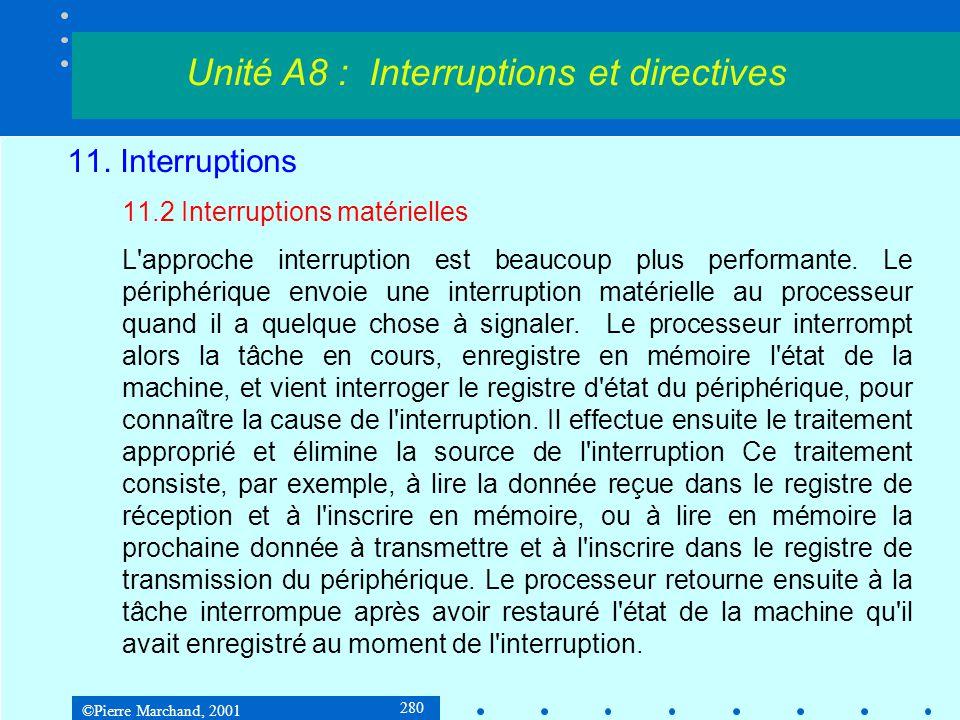 ©Pierre Marchand, 2001 280 11. Interruptions 11.2 Interruptions matérielles L'approche interruption est beaucoup plus performante. Le périphérique env