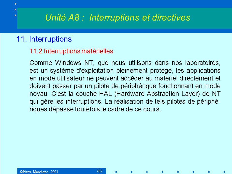 ©Pierre Marchand, 2001 282 11. Interruptions 11.2 Interruptions matérielles Comme Windows NT, que nous utilisons dans nos laboratoires, est un système
