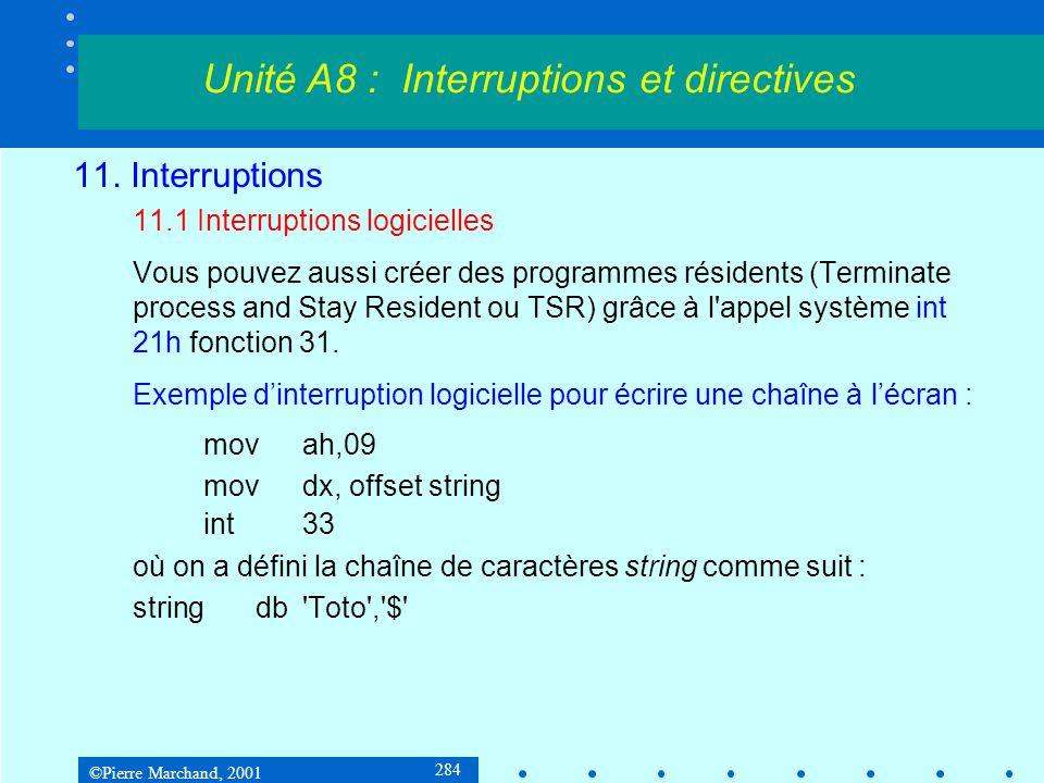 ©Pierre Marchand, 2001 284 11. Interruptions 11.1 Interruptions logicielles Vous pouvez aussi créer des programmes résidents (Terminate process and St