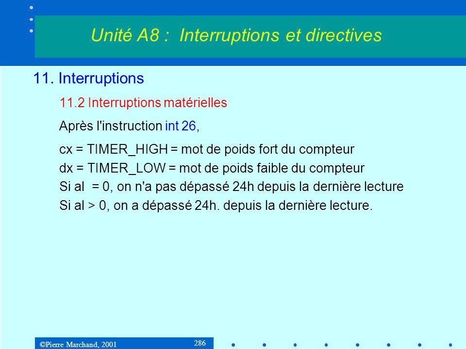©Pierre Marchand, 2001 286 11. Interruptions 11.2 Interruptions matérielles Après l'instruction int 26, cx = TIMER_HIGH = mot de poids fort du compteu