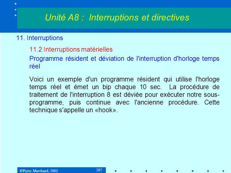 ©Pierre Marchand, 2001 287 11. Interruptions 11.2 Interruptions matérielles Programme résident et déviation de l'interruption d'horloge temps réel Voi