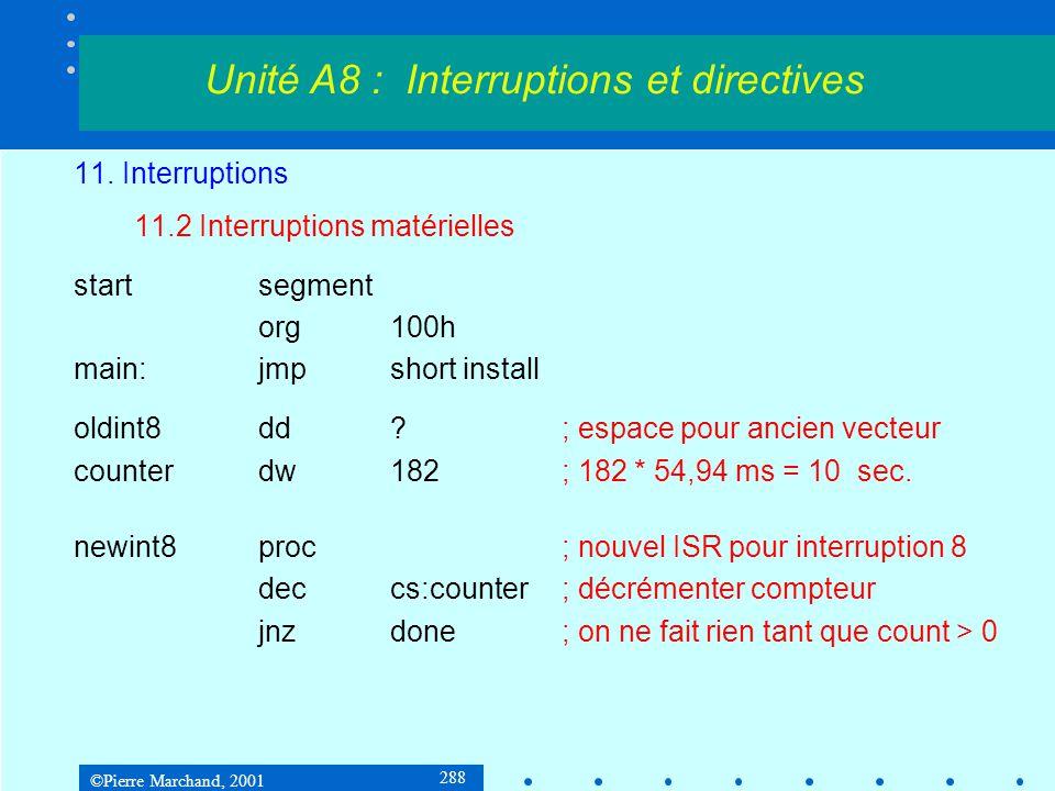 ©Pierre Marchand, 2001 288 11. Interruptions 11.2 Interruptions matérielles startsegment org100h main:jmpshort install oldint8dd?; espace pour ancien