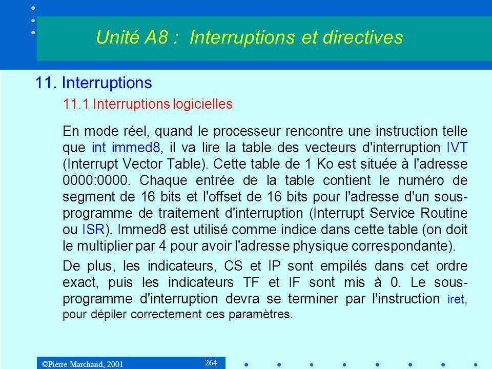 ©Pierre Marchand, 2001 264 11. Interruptions 11.1 Interruptions logicielles En mode réel, quand le processeur rencontre une instruction telle que int