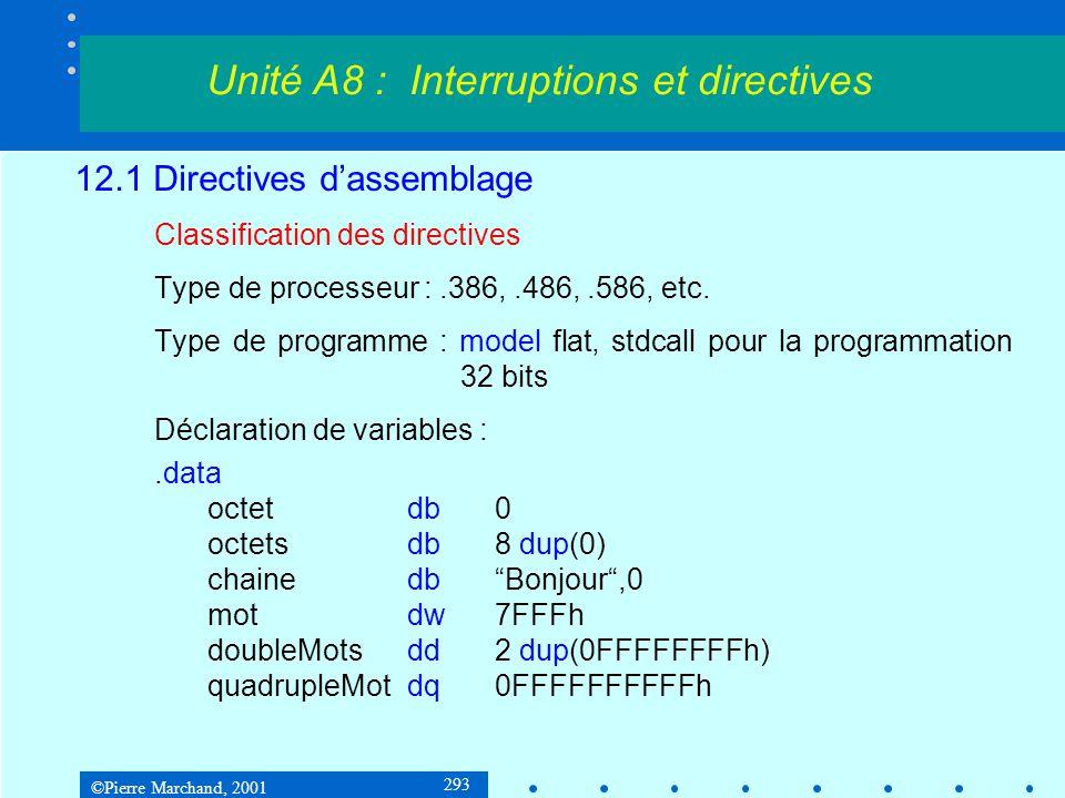 ©Pierre Marchand, 2001 293 12.1 Directives d'assemblage Classification des directives Type de processeur :.386,.486,.586, etc. Type de programme : mod