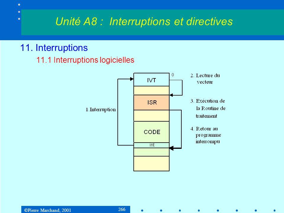 ©Pierre Marchand, 2001 266 11. Interruptions 11.1 Interruptions logicielles Unité A8 : Interruptions et directives