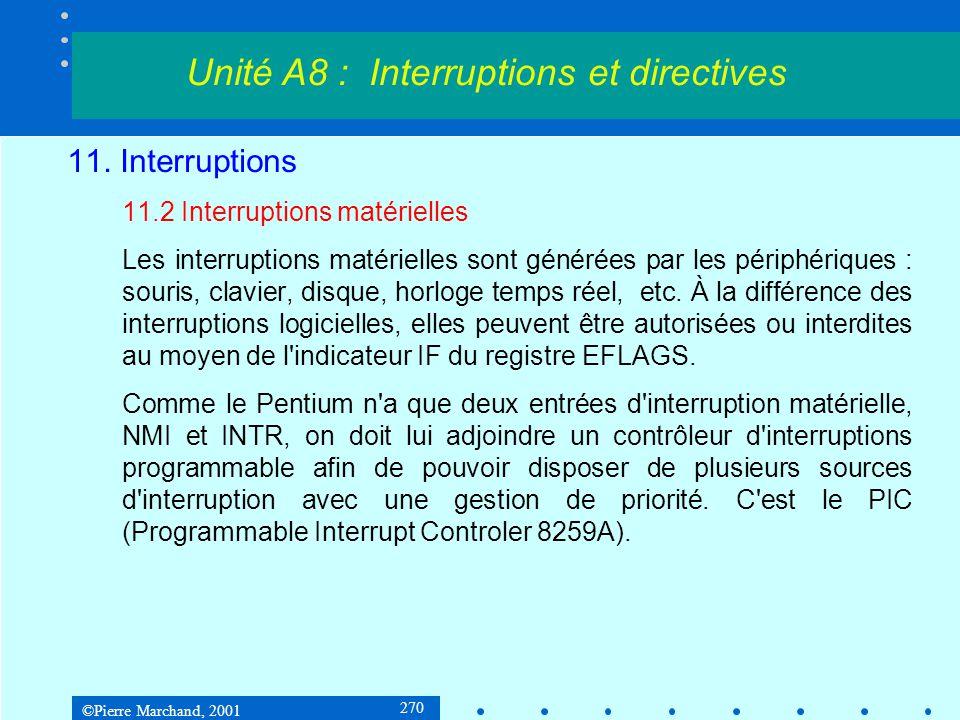 ©Pierre Marchand, 2001 270 11. Interruptions 11.2 Interruptions matérielles Les interruptions matérielles sont générées par les périphériques : souris