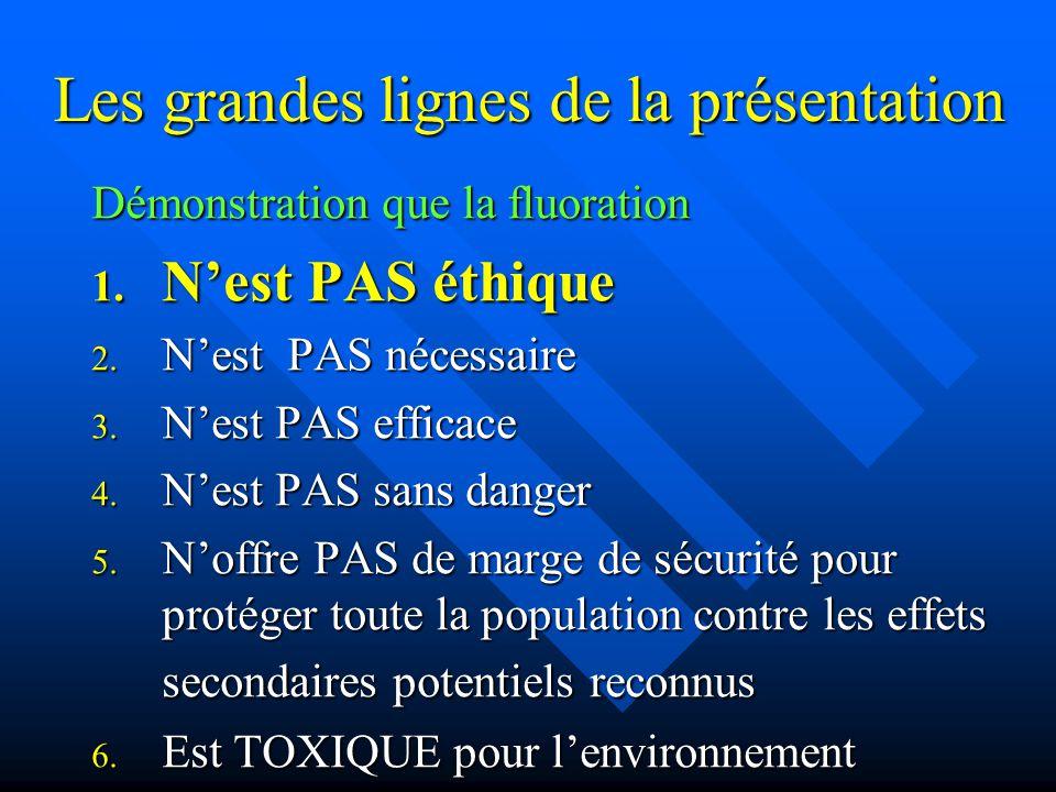 La Concentration Maximale Acceptable (CMA) d'un contaminant dans l'eau: • CMA du plomb = 15 ppb • CMA du fluorure = 1500 ppb • CMA de l'arsenic = 10 ppb Pourquoi une CMA de 1500 ppb pour le fluorure si la toxicité aiguë se situe entre le plomb et l'arsenic.