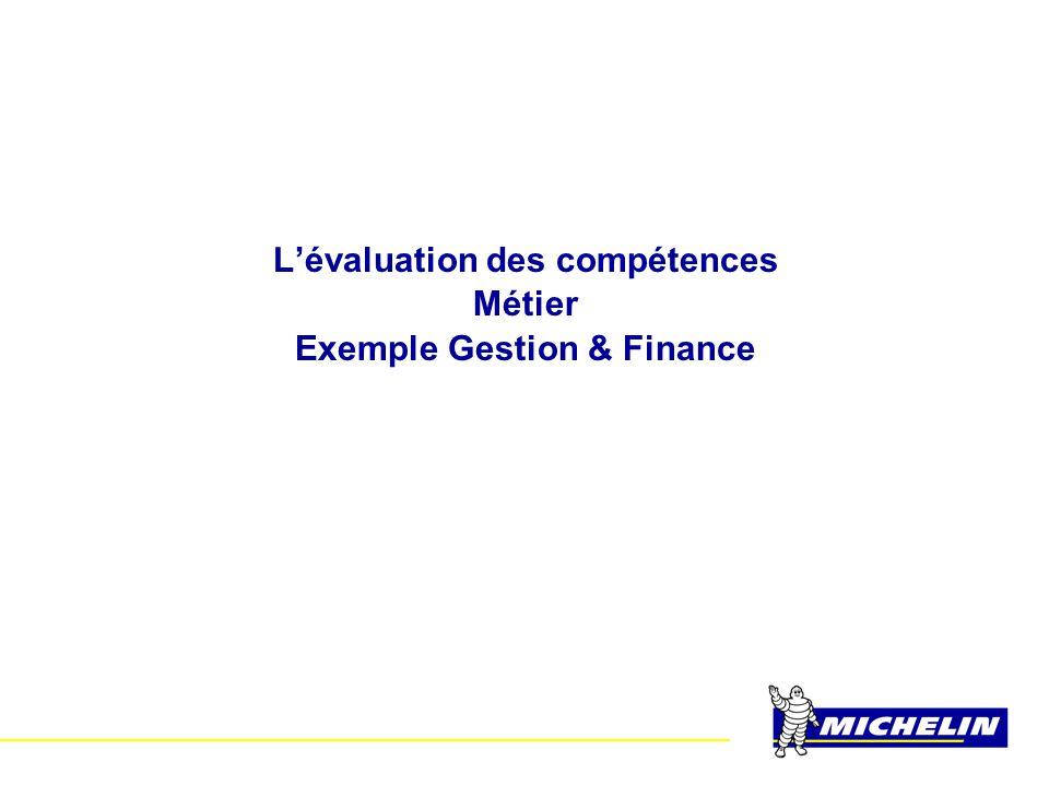 L'évaluation des compétences Métier Exemple Gestion & Finance