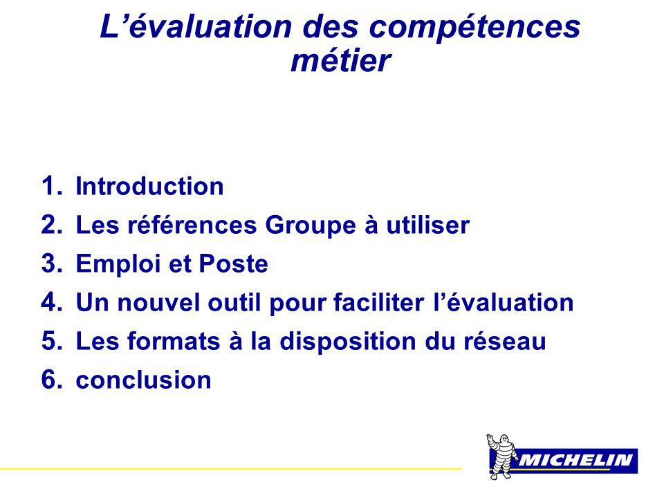 L'évaluation des compétences métier 1. Introduction 2. Les références Groupe à utiliser 3. Emploi et Poste 4. Un nouvel outil pour faciliter l'évaluat