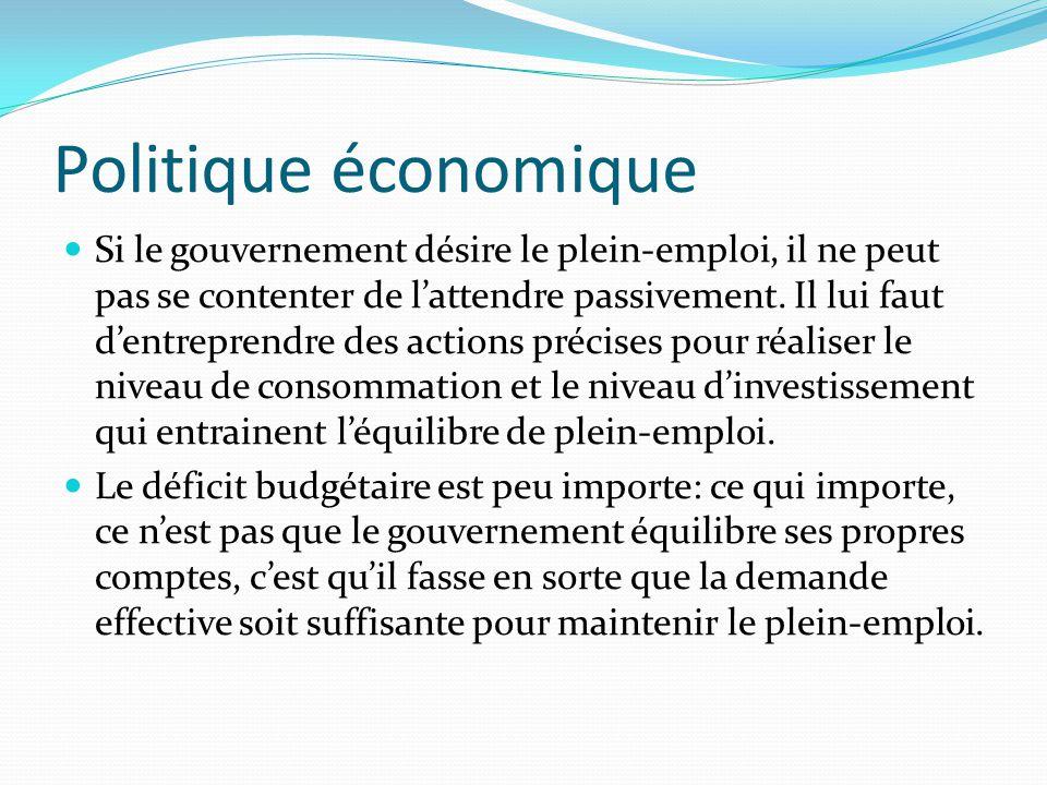 Le niveau de la production et de l'emploi  R= C + I avec R = revenu national; C = consommation et I = investissement.  C + I déterminent le niveau d
