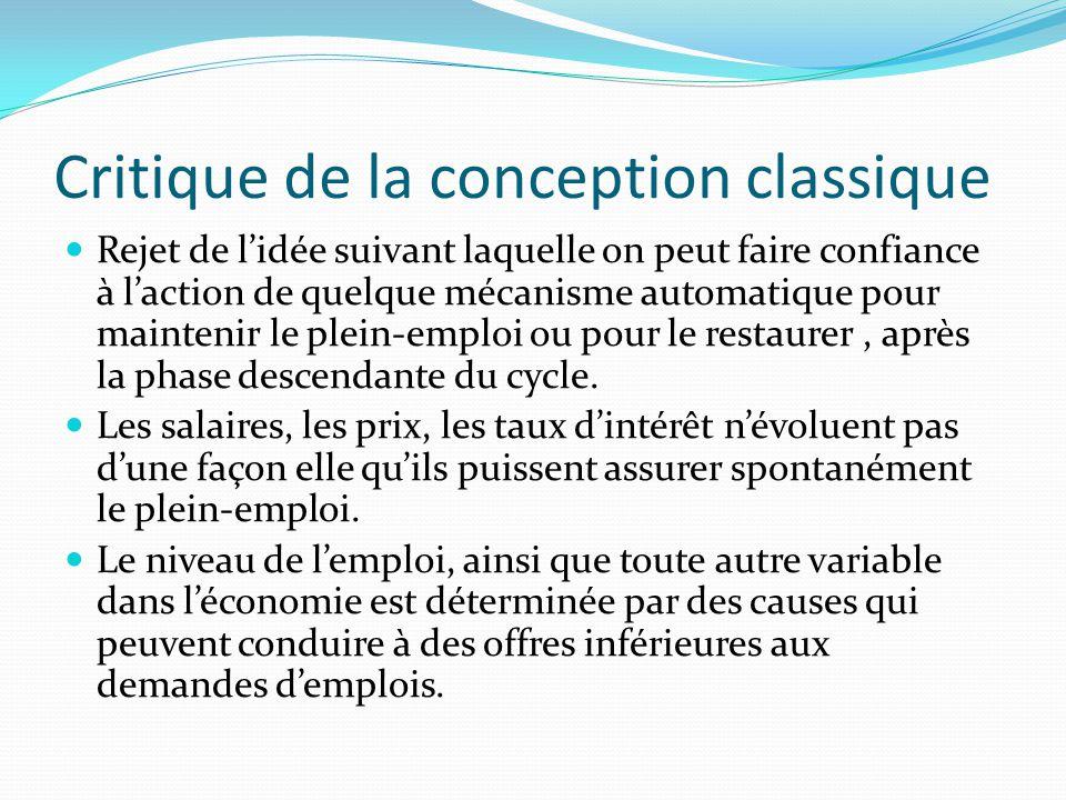 Critique de la conception classique  Rejet de l'idée suivant laquelle on peut faire confiance à l'action de quelque mécanisme automatique pour maintenir le plein-emploi ou pour le restaurer, après la phase descendante du cycle.