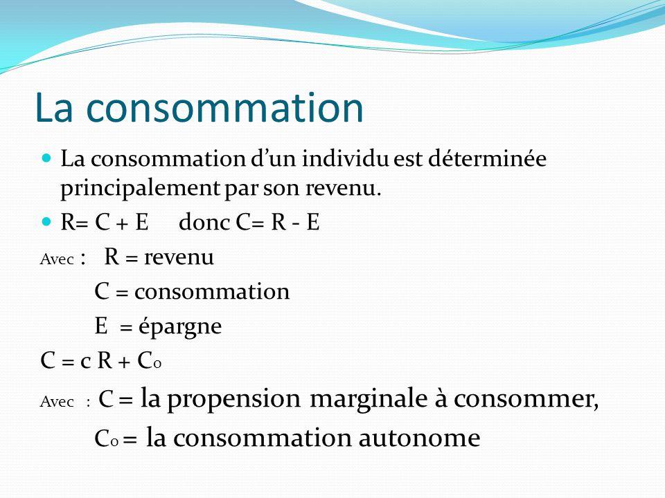 La consommation  La consommation d'un individu est déterminée principalement par son revenu.