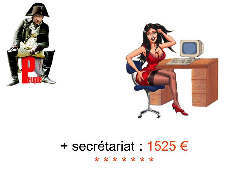 + secrétariat : 1525 € * * * * * * *