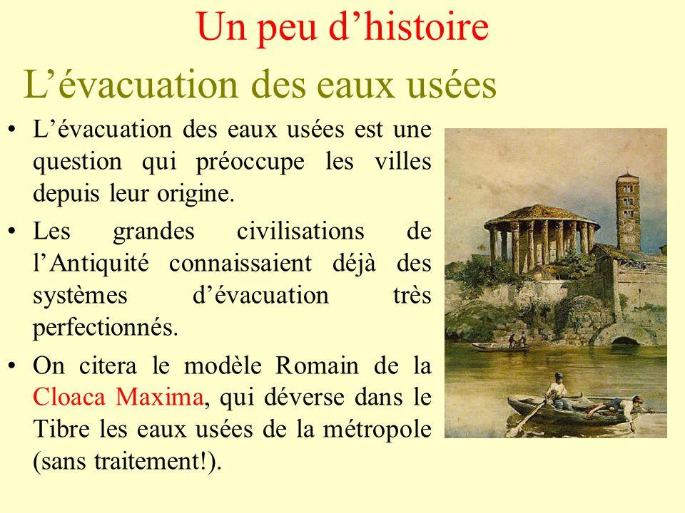 Un peu d'histoire L'évacuation des eaux usées •L'évacuation des eaux usées est une question qui préoccupe les villes depuis leur origine.