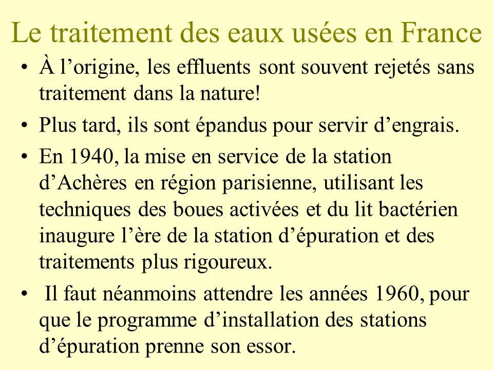 Le traitement des eaux usées en France •À l'origine, les effluents sont souvent rejetés sans traitement dans la nature.