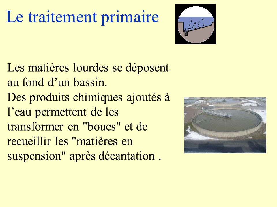 Le traitement primaire Les matières lourdes se déposent au fond d'un bassin.