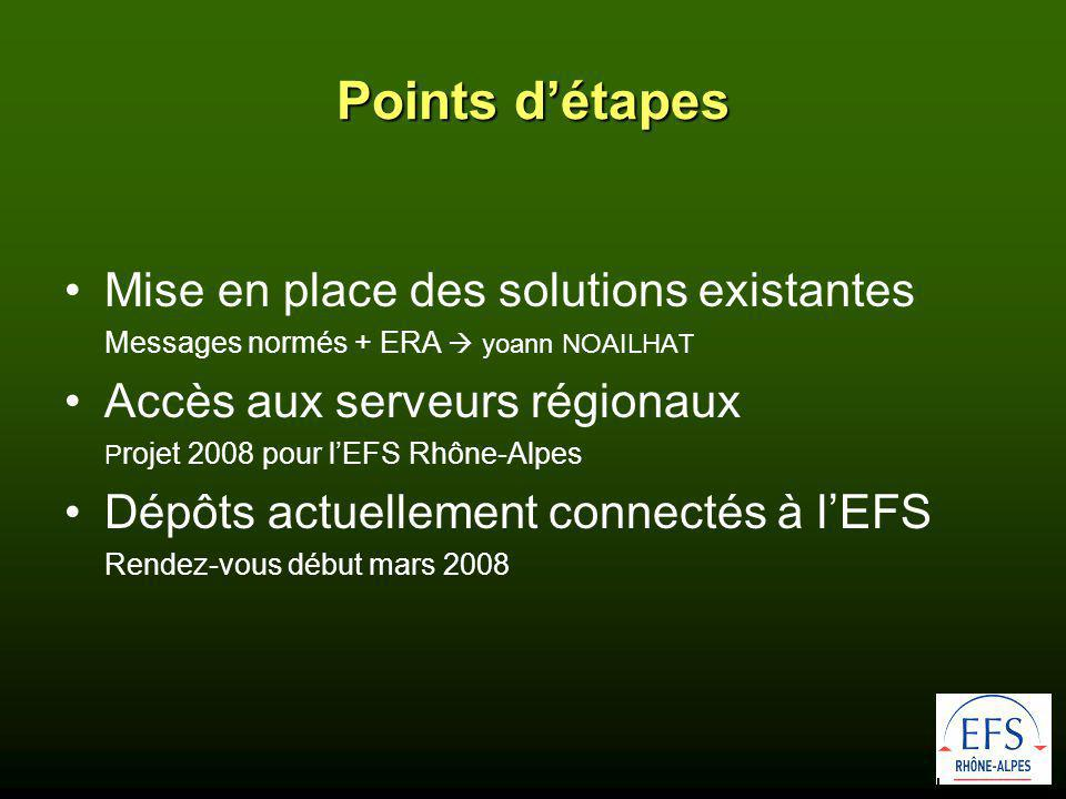 Points d'étapes •Mise en place des solutions existantes Messages normés + ERA  yoann NOAILHAT •Accès aux serveurs régionaux P rojet 2008 pour l'EFS Rhône-Alpes •Dépôts actuellement connectés à l'EFS Rendez-vous début mars 2008