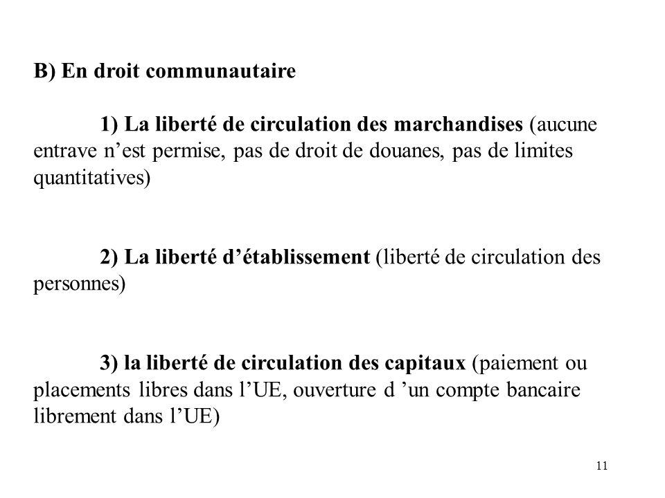 11 B) En droit communautaire 1) La liberté de circulation des marchandises (aucune entrave n'est permise, pas de droit de douanes, pas de limites quan