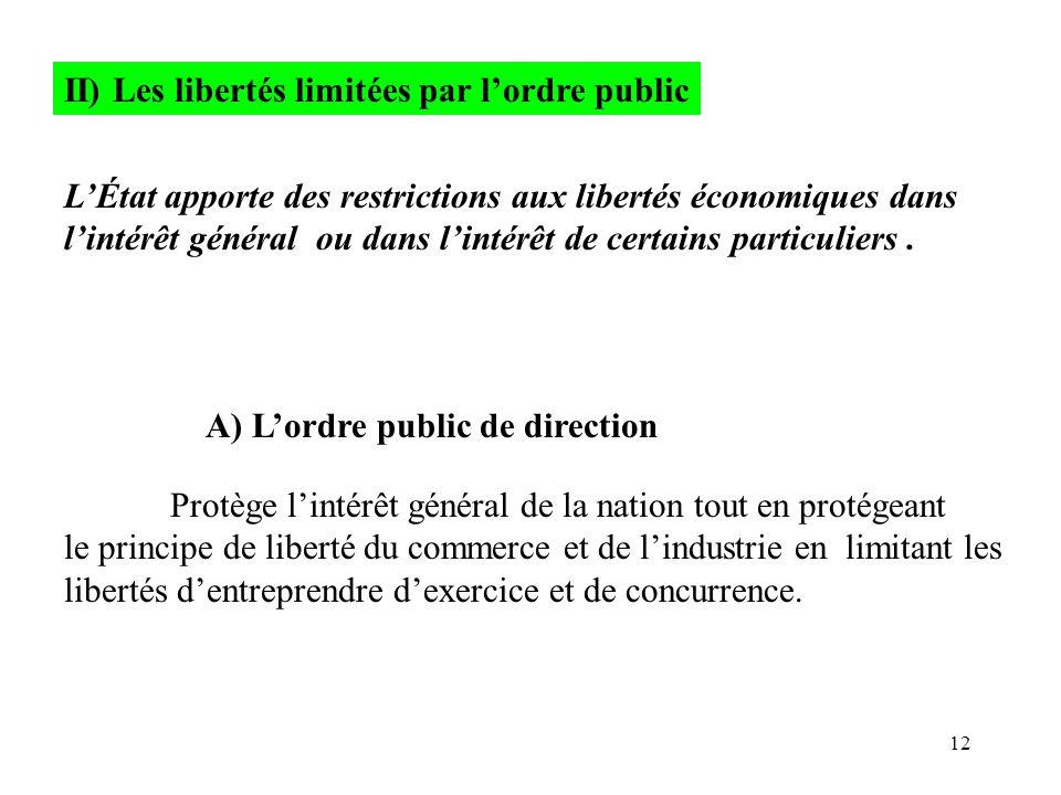 12 II) Les libertés limitées par l'ordre public L'État apporte des restrictions aux libertés économiques dans l'intérêt général ou dans l'intérêt de c