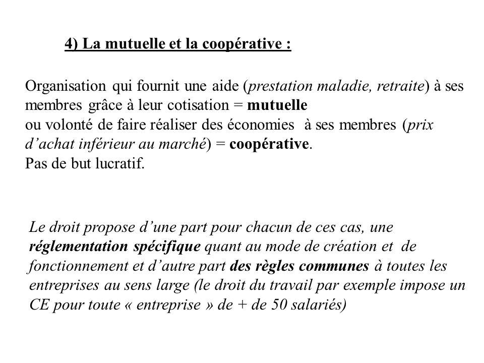 4) La mutuelle et la coopérative : Organisation qui fournit une aide (prestation maladie, retraite) à ses membres grâce à leur cotisation = mutuelle o