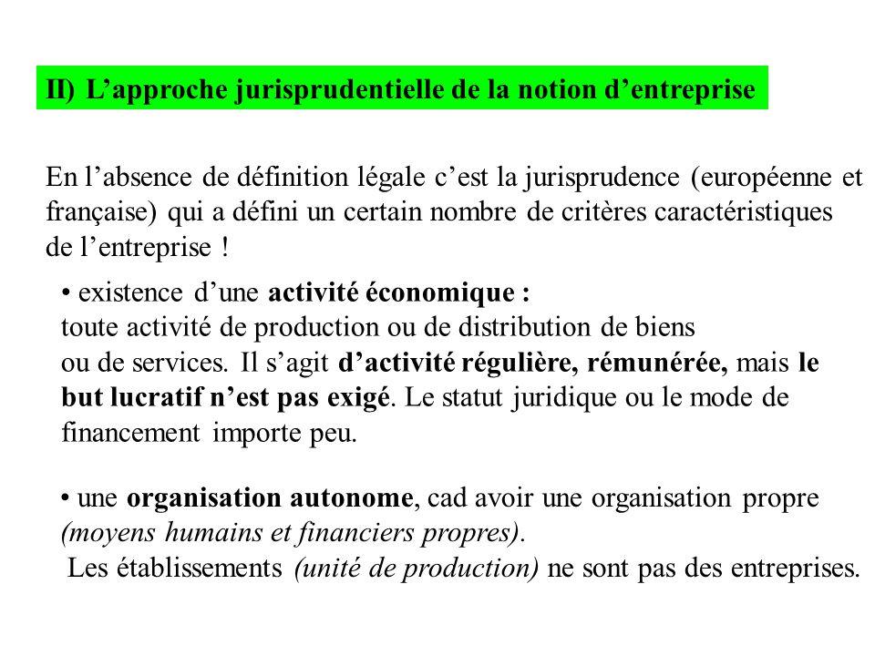 II) L'approche jurisprudentielle de la notion d'entreprise En l'absence de définition légale c'est la jurisprudence (européenne et française) qui a dé