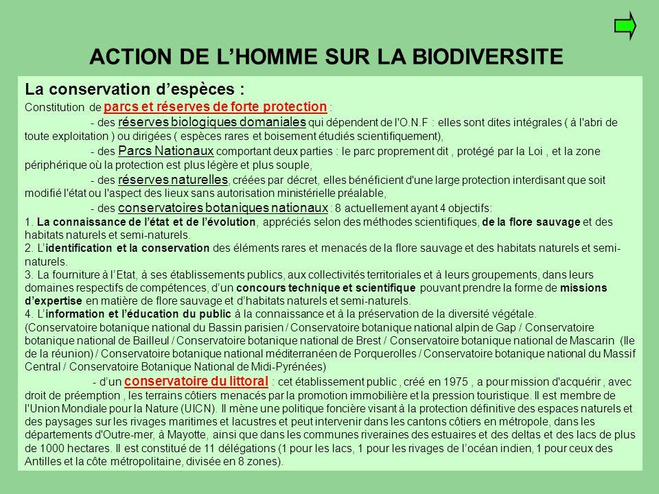 ACTION DE L'HOMME SUR LA BIODIVERSITE La conservation d'espèces : Constitution de parcs et réserves de forte protection : - des réserves biologiques d