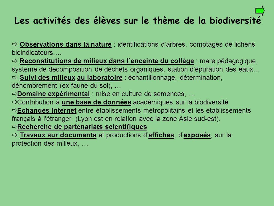 Les activités des élèves sur le thème de la biodiversité  Observations dans la nature : identifications d'arbres, comptages de lichens bioindicateurs