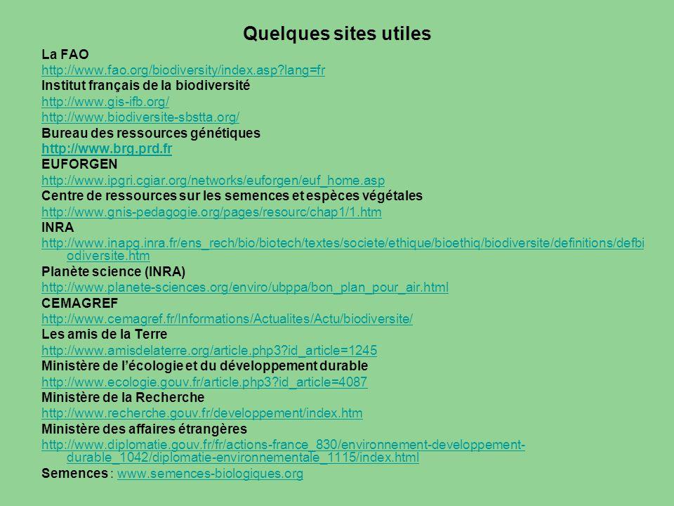 Quelques sites utiles La FAO http://www.fao.org/biodiversity/index.asp?lang=fr Institut français de la biodiversité http://www.gis-ifb.org/ http://www