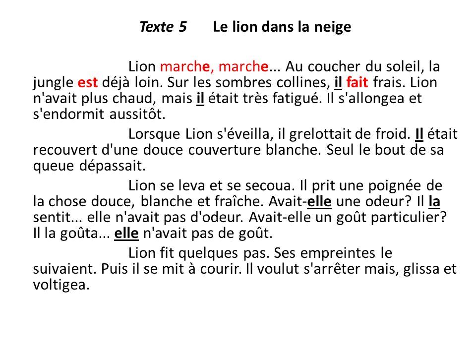 Texte 5 Le lion dans la neige Lion marche, marche... Au coucher du soleil, la jungle est déjà loin. Sur les sombres collines, il fait frais. Lion n'av