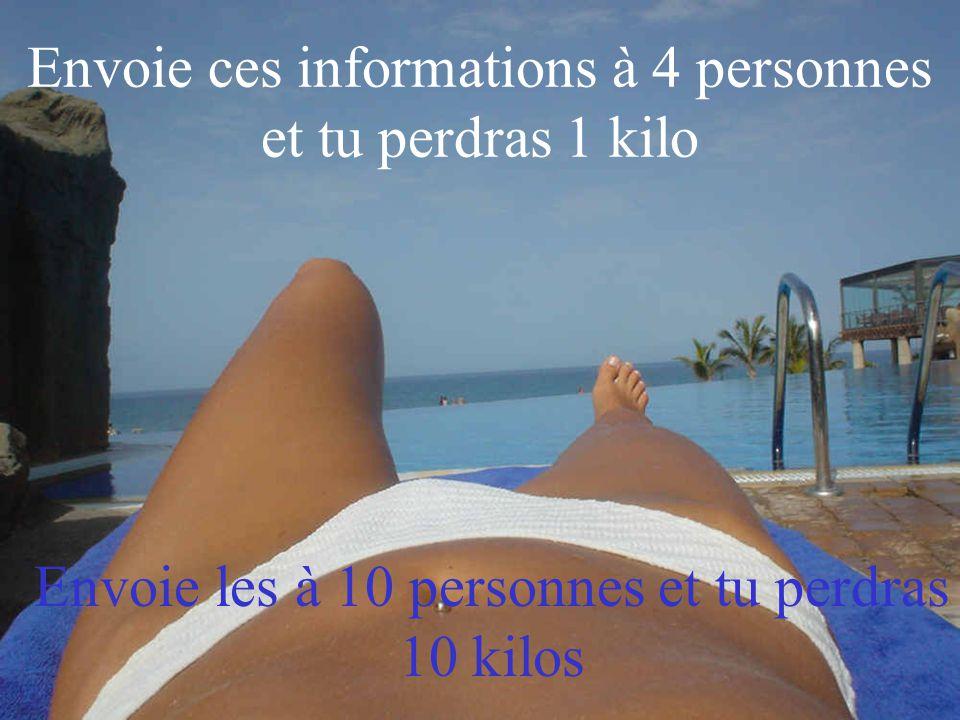 Envoie ces informations à 4 personnes et tu perdras 1 kilo Envoie les à 10 personnes et tu perdras 10 kilos