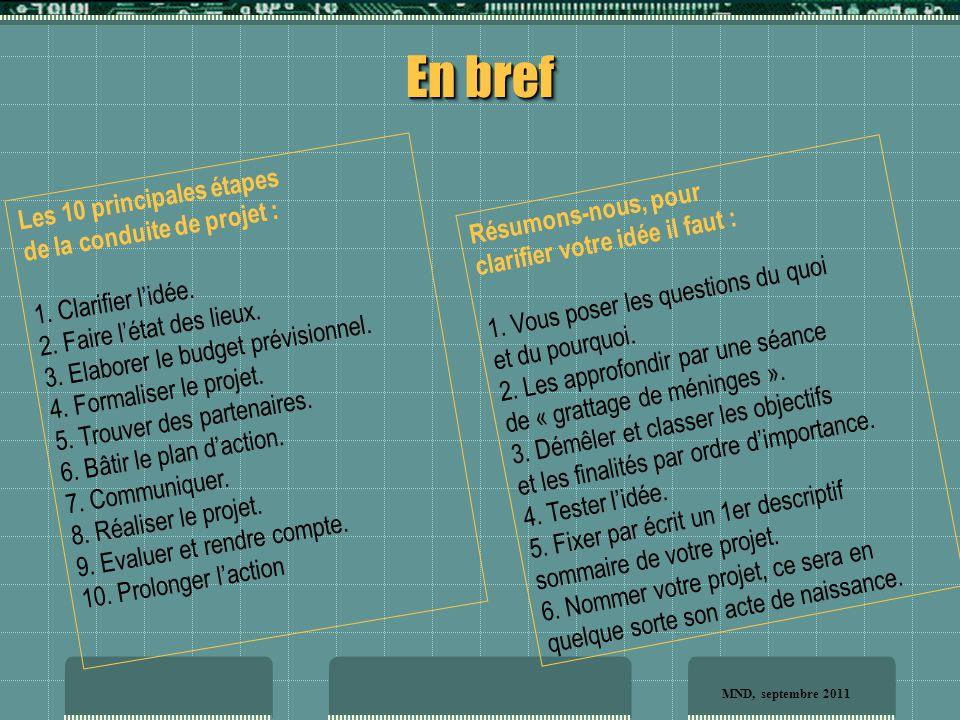 Les 10 principales étapes de la conduite de projet : 1.